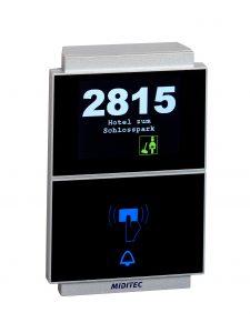 Beim HRC620 Skyline Zutrittsleser mit berührungsloser Mifare-Technologie lässt sich die Display-Anzeige beliebig parametrieren. (Bild: Miditec Datensysteme GmbH)