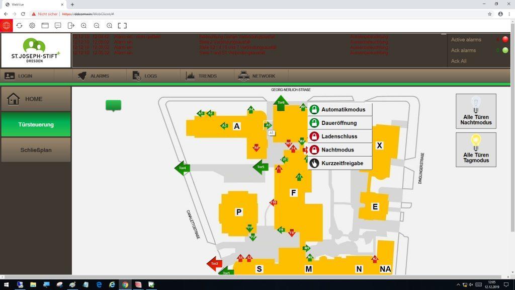 Webvisualisierung WebVue (Bild: Krankenhaus St. Joseph-Stift/Technik)