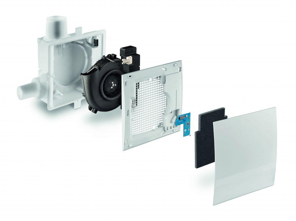 Die Abluftgeräte vom Typ Silvento mit integriertem Feuchte- und Temperatursensor überwachen fortlaufend die Beschaffenheit der Luft und legen einen Referenzwert für den Lüfter fest, der sich dementsprechend automatisch reguliert. (Bild: Lunos Lüftungstechnik GmbH)
