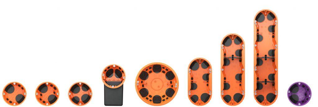 Die Produktfamilie der O-range ECON®-Hohlwanddosen hat Zuwachs bekommen: Neue Dosen in zwei-, drei- und vierfacher Ausführung sowie die Geräte-Anschlussdose O-range ECON® Data für die luftdichte Elektro-Installation führt KAISER jetzt in den Markt ein. (Bild: Kaiser GmbH & Co KG)