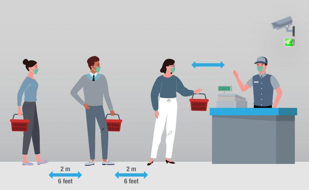 Ein Kamera-Ampelsystem sorgt für die Einhaltung von Social Distancing Regularien, der automatisierten Überprüfung des ordnungsgemäßen Tragens von Mund-Nasenschutz sowie der Messung und das Monitoring von erhöhten Körpertemperaturen. (Bild: Pfannenberg Europe GmbH)