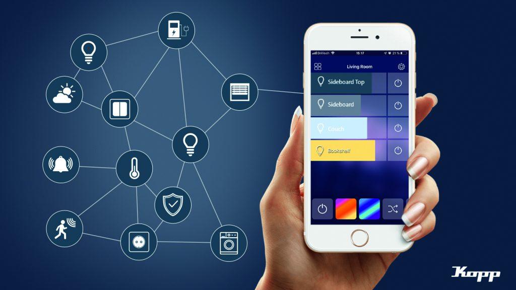 In der App Kopp HomeControl können unterschiedliche Funktionen eingerichtet und sämtliche Aktoren einzeln oder gruppiert gesteuert werden. (Bild: Heinrich Kopp GmbH)