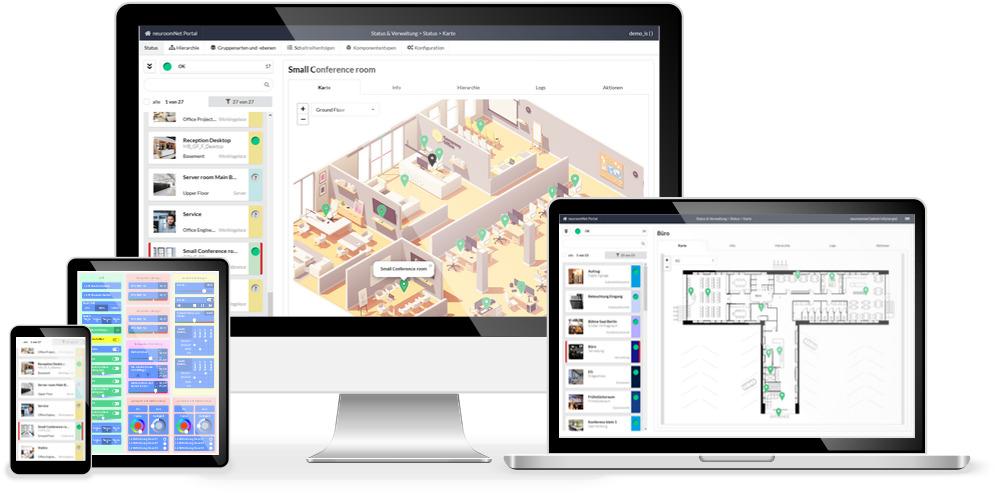 Die serverbasierte Software NeuroomNet ist eine Gebäude-, Technik- und Medienmanagementlösung und kann von jedem Gerät aus aufgerufen werden, welches über einen Browser verfügt. (Bild: InSynergie Gmbh)