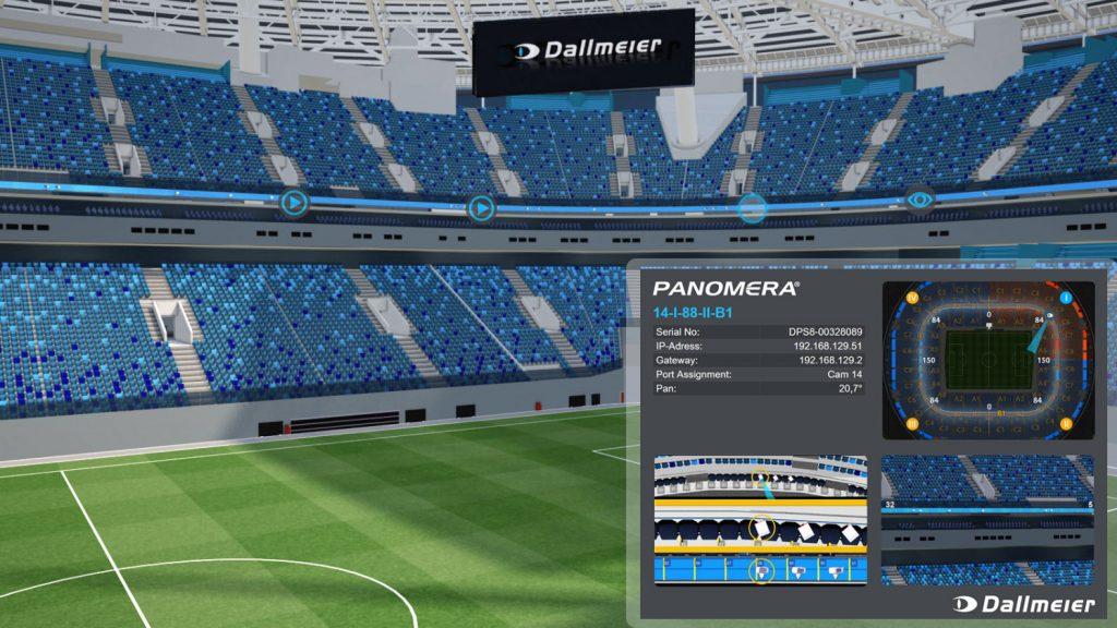 Im Rahmen einer 3D-Planung konnte Dallmeier die Gazprom Arena detailgetreu modellieren und exakt bestimmen, wo und wie welches Kameramodell installiert werden muss, um die Sicherheitsanforderungen von Zenit St. Petersburg zu erfüllen. Die CamCards ermöglichen eine genaue und schnelle Implementierung. (Bild: Dallmeier electronic GmbH & Co.KG)