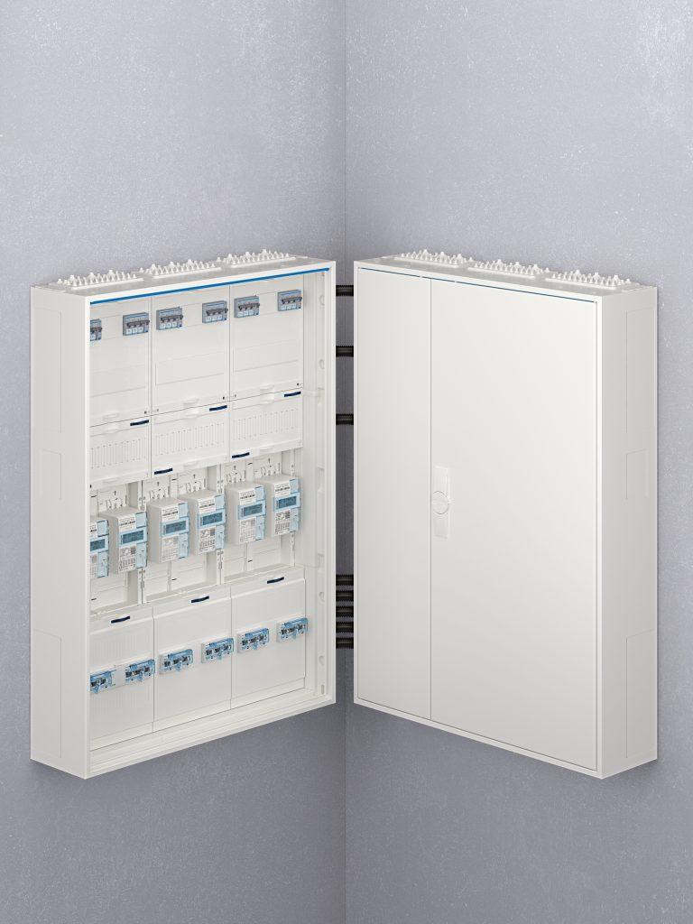Zählerschränke über Eck verbinden mit den neuen Schrank/Schrank-Eckverbindern für RfZ und AAR (Bild: Hager Vertriebsgesellschaft mbH & Co. KG)