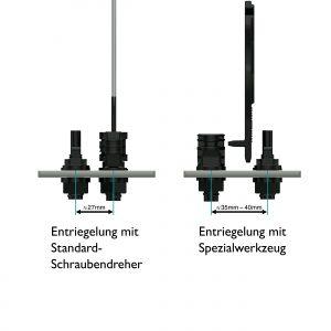 Raumvorteil: Die Entriegelung mit einem Standard-Schraubendreher erlaubt kleinere Stichmaße zwischen den Steckverbindern (links). (Bild: Phoenix Contact Deutschland GmbH)