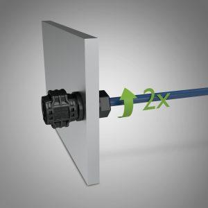 Schnellschraubgewinde: Mit zwei bis drei Umdrehungen lassen sich die Steckverbinder ins Gerätegehäuse einschrauben. (Bild: Phoenix Contact Deutschland GmbH)