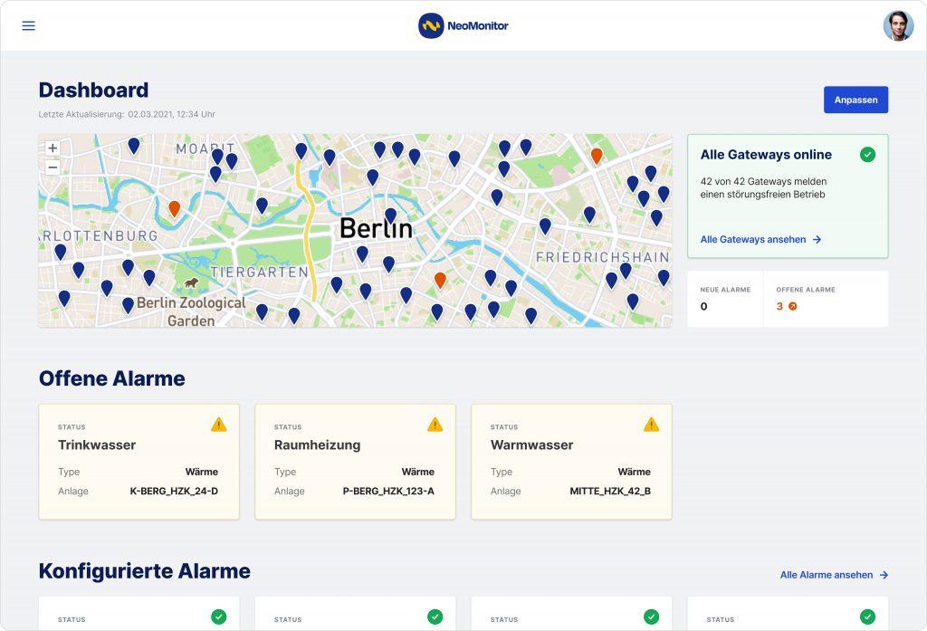 Dashboard mit Anlagen- und Detailansicht zu allen Sensoren, kritische Anlagen, Anomalien und offenen Alarmen (Bild: FP InovoLabs GmbH)