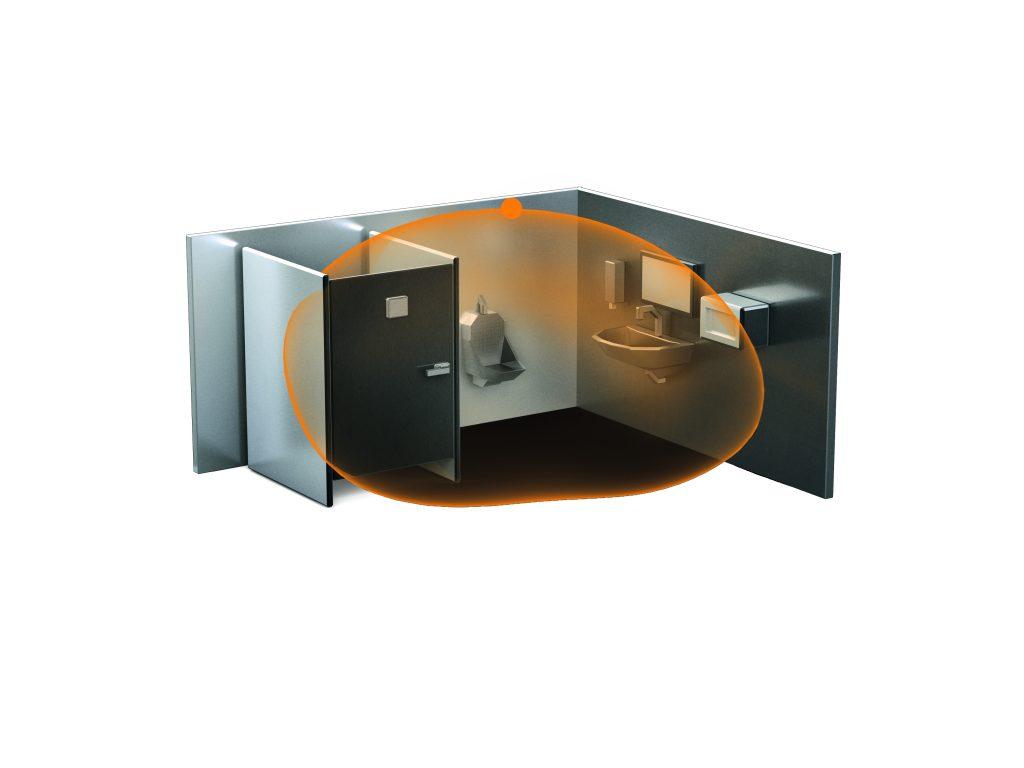 Mit seiner durchdringenden Erfassung registriert der HF 360-2 auch Bewegungen hinter Trennwänden. (Bild: Steinel Vertrieb GmbH)