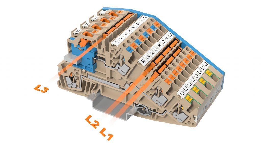 Durchgängige Querverbindungskanäle erhöhen die Flexibilität und sparen Verdrahtungsaufwand. (Bild: Weidmüller GmbH & Co. KG)
