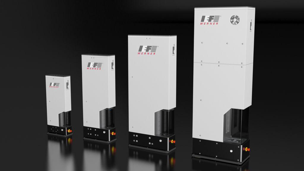 Die vier Baugrößen der aiPress-Reihe. Die Entwickler von IEF-Werner haben besonders viel Wert auf eine steife Konstruktion gelegt.