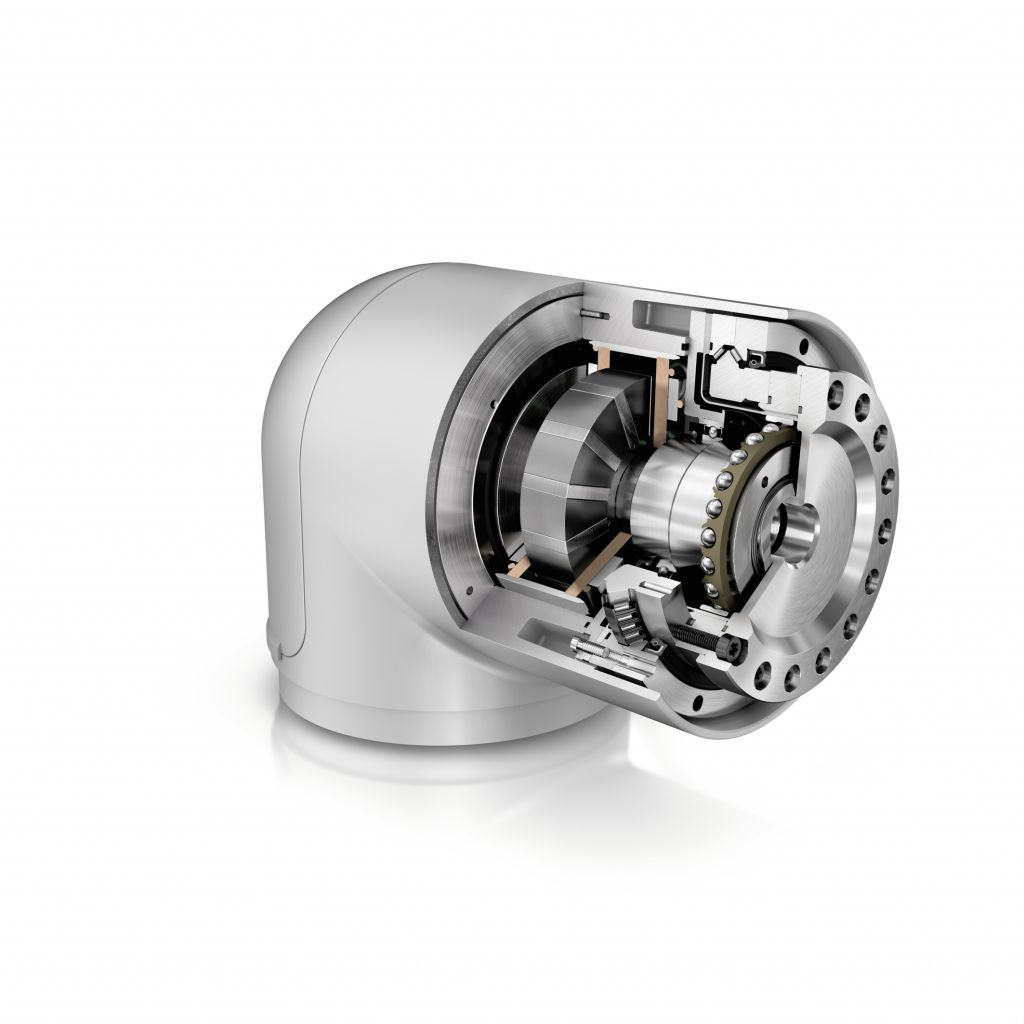 Für die Gelenke von Leichtbaurobotern bietet Schaeffler eine Systembaugruppe, bestehend aus dem Wellgetriebe DuraWave RTWH, dem Schrägnadellager XZU und dem Motor der Baureihe UPRS, an.