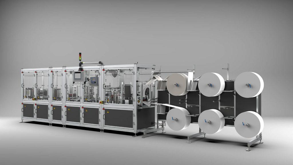 Diese Maschine produziert bis zu 72.000 FFP Masken pro Tag. Für die Sicherheit an der Maschine selbst sorgt Sicherheitstechnik von Bernstein.