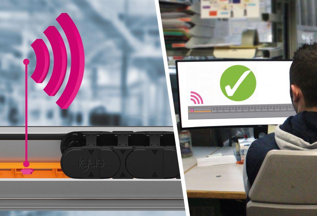 Zur Überwachung der Gleitschiene gibt es bei Igus den smart plastics Sensor EC.T,  der regelmäßig Informationen über den Zustand der langlebigen Schiene sendet.
