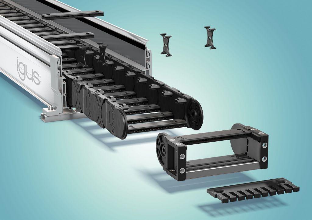 Die schnell bestellbaren Energieketten-Komplettsets bestehen aus Kette, Rinne, Zugentlastung und Trennstegen und sind komfortabel zusammenzubauen.