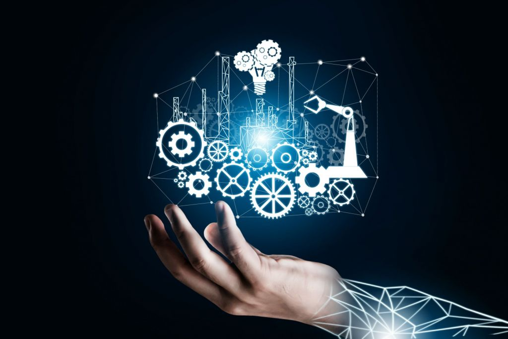 Futuristic industry 4.0 concept - Engineering with graphic interface showing automation design, robot operation, usage of machine deep learning for future manufacturing.
