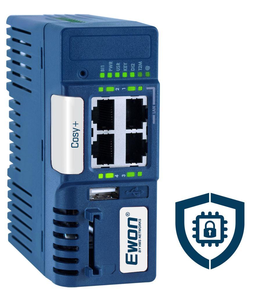Ewon Cosy+ bietet moderne Hardwaresicherheit und hohen Schutz vor  Cyberangriffen.