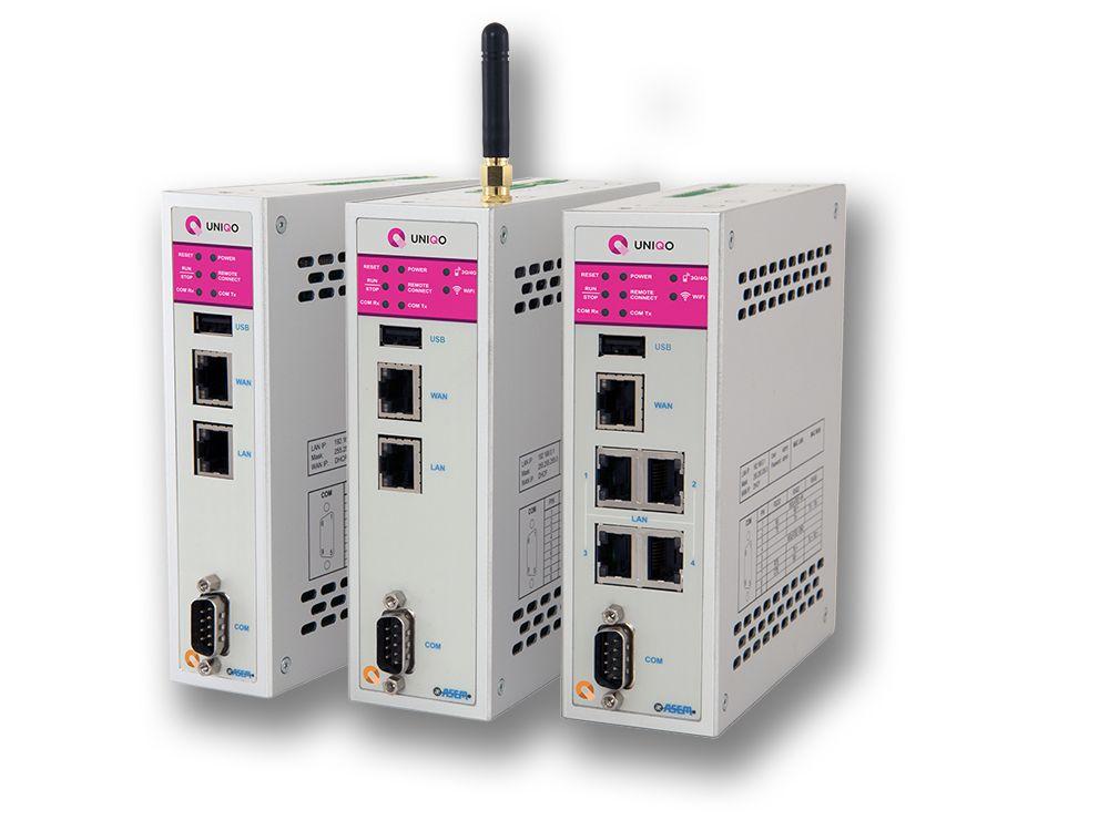 Die IIoT Gateways der RM-Serie sind in der Lage, Uniqo-Projekte auszuführen. Zusätzlich ist Ubiquity vorinstalliert, die Gesamtlösung für Fernwartung und Fernüberwachung. RM21- und RK22-Systeme verfügen über ein integriertes Modem, das RM22-System zusätzlich über einen 4-Port Ethernet-Switch.