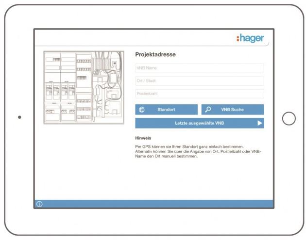 Zunächst wird das VNB und der aktuelle Ort - manuell oder per GPS - bestimmt. (Bild: Hager Vertriebsgesellschaft<br /><br /><br /> mbH & Co. KG)