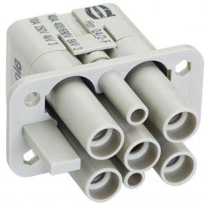 Han 6 HsB, gängiger Steckverbinder z.B. im Maschinenbau für Ströme bis 35 A (Bild: Harting Electric GmbH & Co. KG)