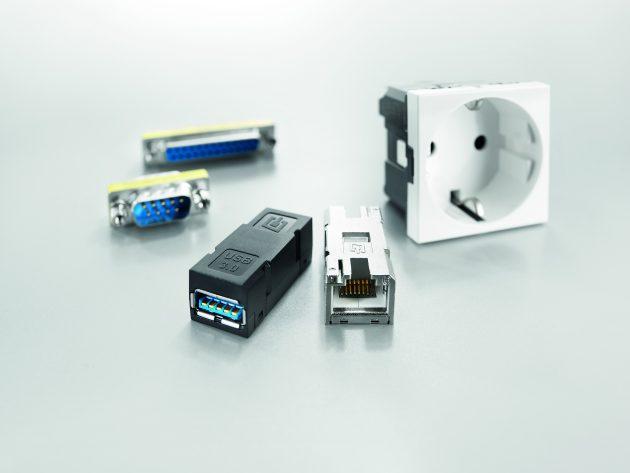Das smarte und flexible FrontCom-Vario-System bietet eine Fülle von Einsätze, daraus ergeben sich in Summe mehr als 5.000 Kombinationsmöglichkeiten. (Bild: Weidmüller GmbH & Co. KG)