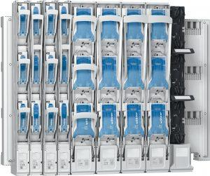 Höchstleistung auf der Schiene: alle Varianten der Quadron-185Power NH-Lasttrennleisten in den Größen 00 bis 3 können einfach auf dem System 185Power eingesetzt werden. (Bild: Wöhner GmbH & Co. KG)