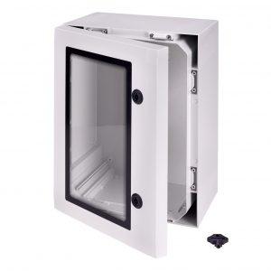 Die Polycarbonat-Schaltschränke mit Sichttüren eignen sich für den Innen- und Außenbereich. (Bild: FIBOX GmbH)