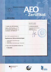 Dehn + Söhne erhält das AEOF Zertifikat