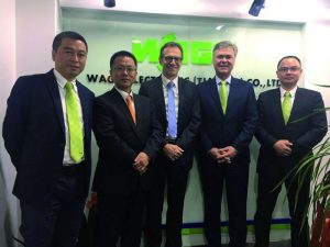 Er?ffnung des neuen WAGO-Vertriebsb?ros Nanjing (von links): Xu Xia (Sales Manager China East), Liu Nan (Sales Manager China), J?rgen Sch?fer (Chief Sales Officer), Volker Palm (General Manager WAGO China) and Jackie Chen (Office Manager Nanjing). (Bild: Wago Kontakttechnik GmbH & Co. KG)