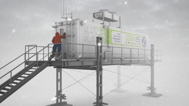 Der Gewächshauscontainer für die Forschungsmission zur Antarktis. In diesem Forschungslabor werden Anzuchtmethoden für zukünftige Missionen zu Mond und Mars getestet. (Bild: DLR (CC-BY 3.0))