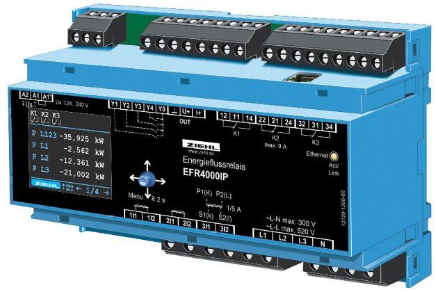 Die Energieflussrelais EFR4000IP messen den Stromfluss zwischen Erzeuger und Netzbetreiber (EVU). (Bild: Ziehl Industrie-Elektronik GmbH + Co. KG)