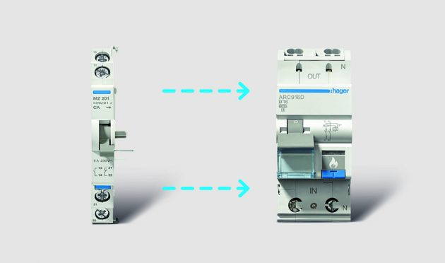 AFDD mit Anbauzubehör aus dem LS- bzw. FI/LS-Programm (Bild: Hager Vertriebsgesellschaft mbH & Co. KG)