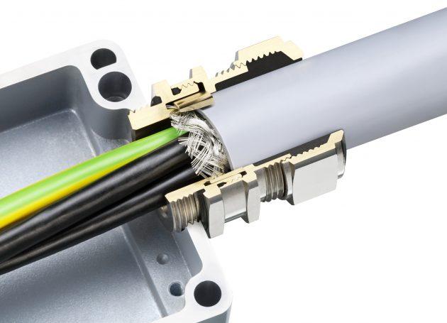 Die Kabelverschraubung Progress EMV PowerConncet ist von Agro speziell für EMV-Anwendungen konzipiert und mit einer neuartigen fortschrittlichen Presshülse ausgestattet worden, die eine konzentrische 360°-Schirmkontaktierung auf kleinstem Raum gewährleist (Bild: Agro AG)
