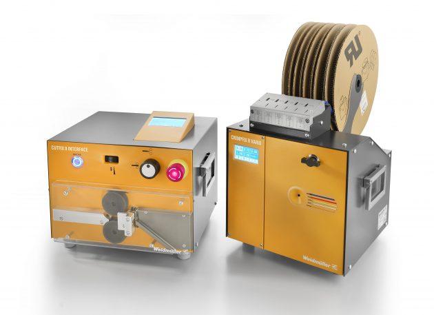 Cutfix 8 Interface und Crimpfix R Vario sind optimal aufeinander abgestimmt, beide Automaten sorgen für mehr Effizienz bei der Kabelkonfektionierung im Schaltschrankbau. (Bild: Weidmüller GmbH & Co. KG)