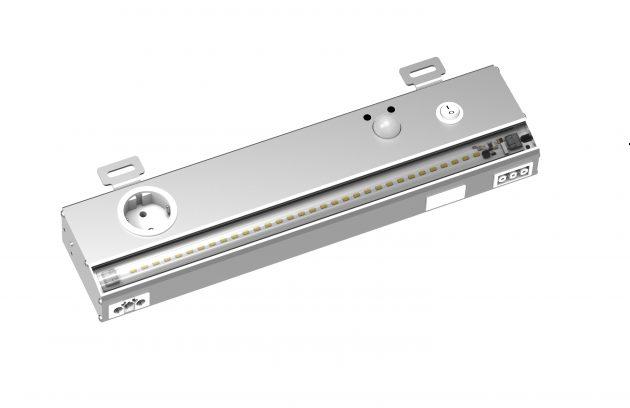 Die Premium-LED-Schaltschrankleuchte LLX-400 von Elmeko erreicht eine Lichtstärke von 2.000lm bei einer Farbtemperatur von 5.000K und leuchtet dank einer speziellen Optik den Schaltschrank bis zum Boden gleichmäßig und blendfrei aus. (Bild: Elmeko GmbH + Co. KG)