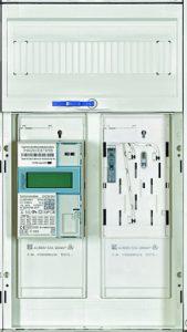 Die normkonforme Plattform für den elektronischen Haushaltszähler im Neubau ist die integrierte Befestigungs- und Kontaktiereinrichtung BKE-I. Im ein Univers Z Zählerfeld mit zwei eHZ-Anschlusskassetten BKE-I von Hager. (Bild: Hager Vertriebsgesellschaft mbH & Co. KG)