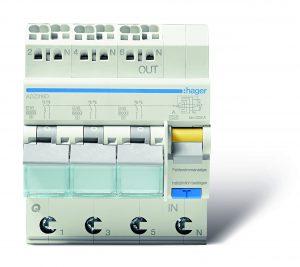 Der FI/LS-Schalter 3x1-polig+N verbindet drei einpolige Leitungsschutzschalter für drei 230 V-Wechselstromkreise mit einem FI-Schalter, der alle drei Stromkreise gleichzeitig sichert. (Bild: Hager Vertriebsgesellschaft mbH & Co. KG)