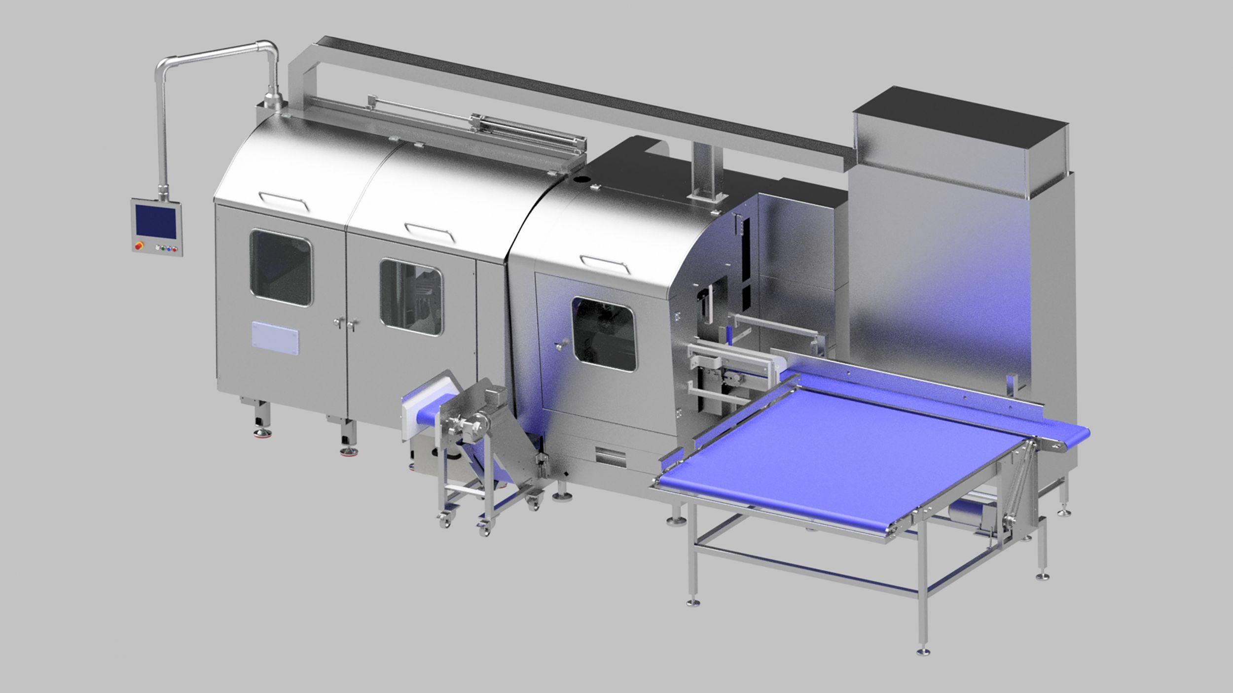 Die Brotschneidemaschine Rotec 3000 ist modular aufgebaut: Schneideinheit und Portionierer werden mit dem Schaltschrank von oben über einen geschlossenen Kabelkanal aus Edelstahl mit Energie-, Daten- und Steuerungskabeln verbunden. (Bild: MKW)