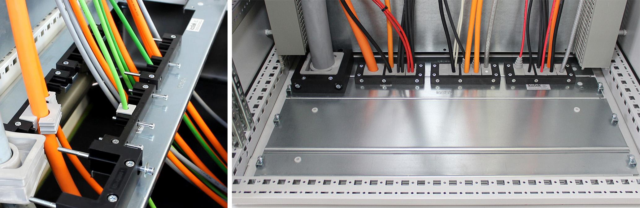 Geteiltes Schaltschrankbodenblech KDR 2 (IP54) mit Kabeleinführungen (Bild: Icotek GmbH)