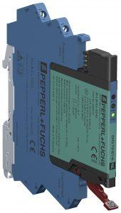 Die LEDs an der Frontseite des zweiteiligen M-LB-5000 Systems zeigen das Ergebnis der Diagnosefunktion. (Bild: Pepperl+Fuchs Kolleg GmbH)