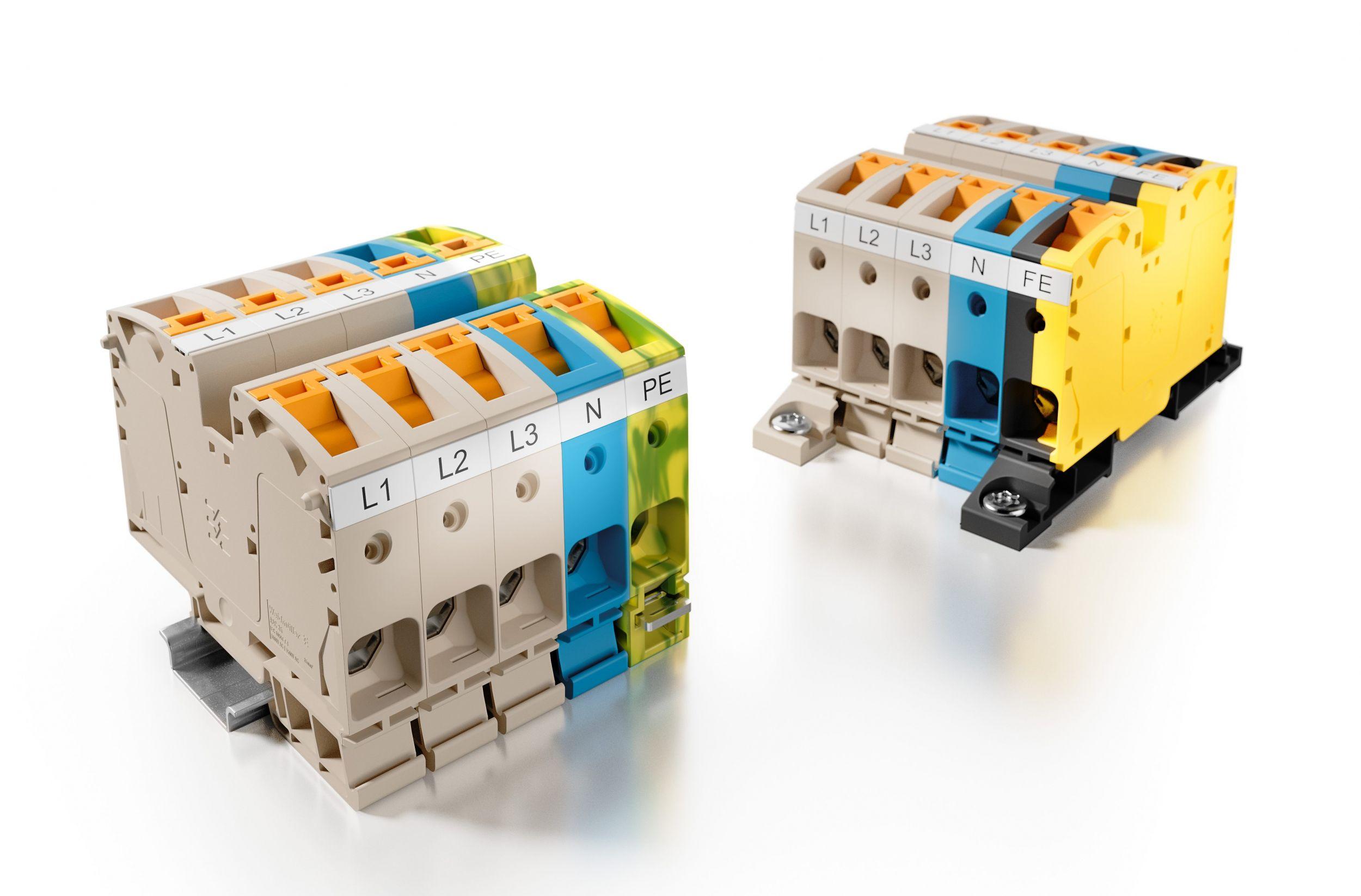 Mit den neuen Hochstromklemmen A2C 35 lässt sich die Energieeinspeisung und -verteilung im Schaltschrank sehr effiziert realisieren. (Bild: Weidmüller Gruppe)