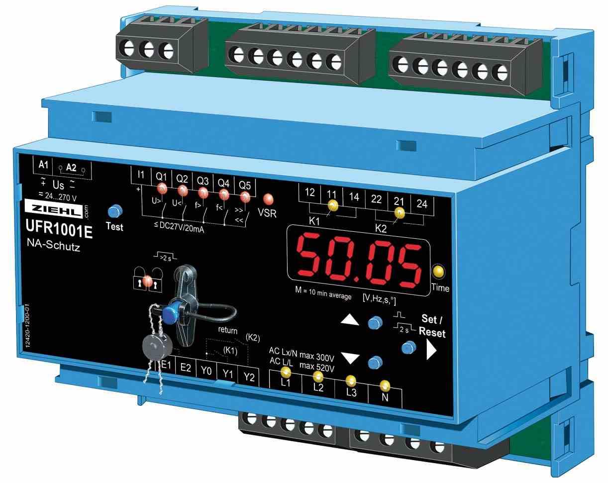 Voreingestellt für die Anwendungsregel VDE-AR-N 4105:2018-11: die NA-Box UFR1001E (Bild: Ziehl Industrie-Elektronik GmbH+Co. KG)