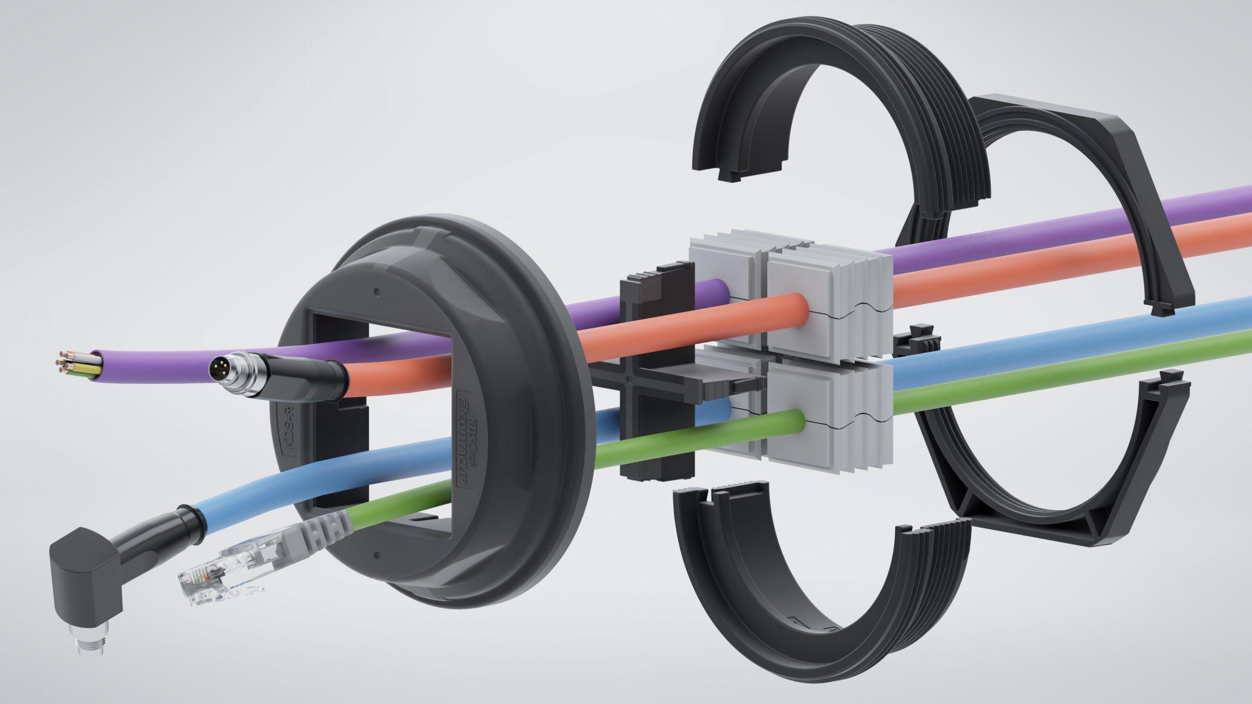 Variantenreiches, werkzeuglos montierbares Kabelmanagement-System für runde Durchführungen mit Schutzart IP66. GmbH)