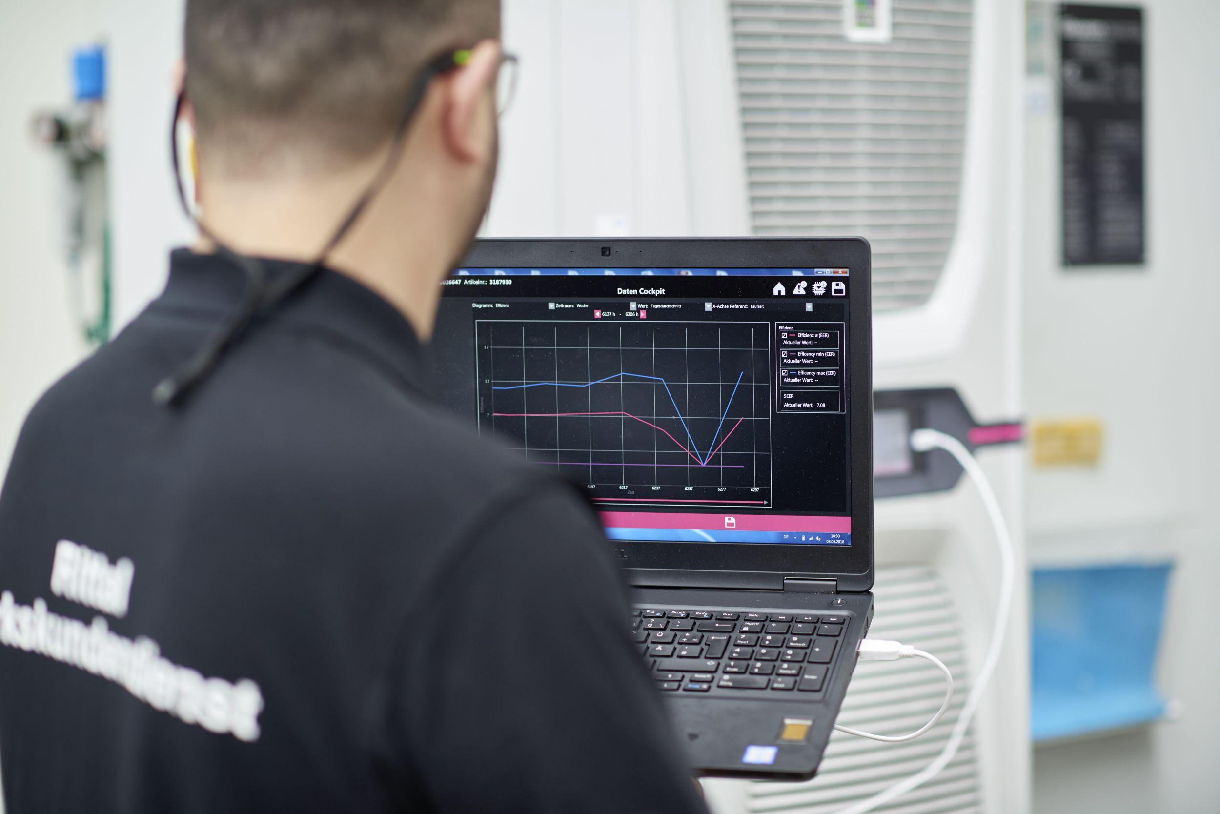 Ein Mitarbeiter vom Rittal Werkskundendienst checkt die aktuellen Effizienzwerte der Rittal Blue e+ Kühlgeräte bei Voith Turbo in Heidenheim. (Bild: Rittal GmbH & Co. KG)