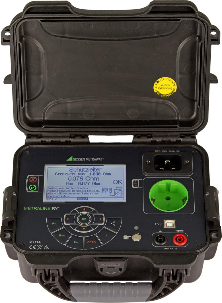 Der kompakte tragbare PAT-Tester aus der Metraline-Serie führt alle nach DGVU Vorschrift 3 für ortsveränderliche Betriebsmittel erforder - lichen Prüfungen durch. (Bild: GMC-I Messtechnik GmbH)