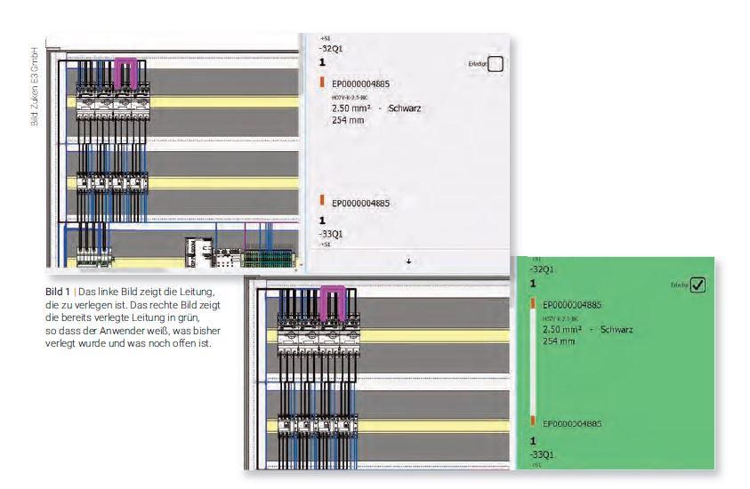Das linke Bild zeigt die Leitung, die zu verlegen ist. Das rechte Bild zeigt die bereits verlegte Leitung in grün, so dass der Anwender weiß, was bisher verlegt wurde und was noch offen ist. (Bild: Zuken E3 GmbH)
