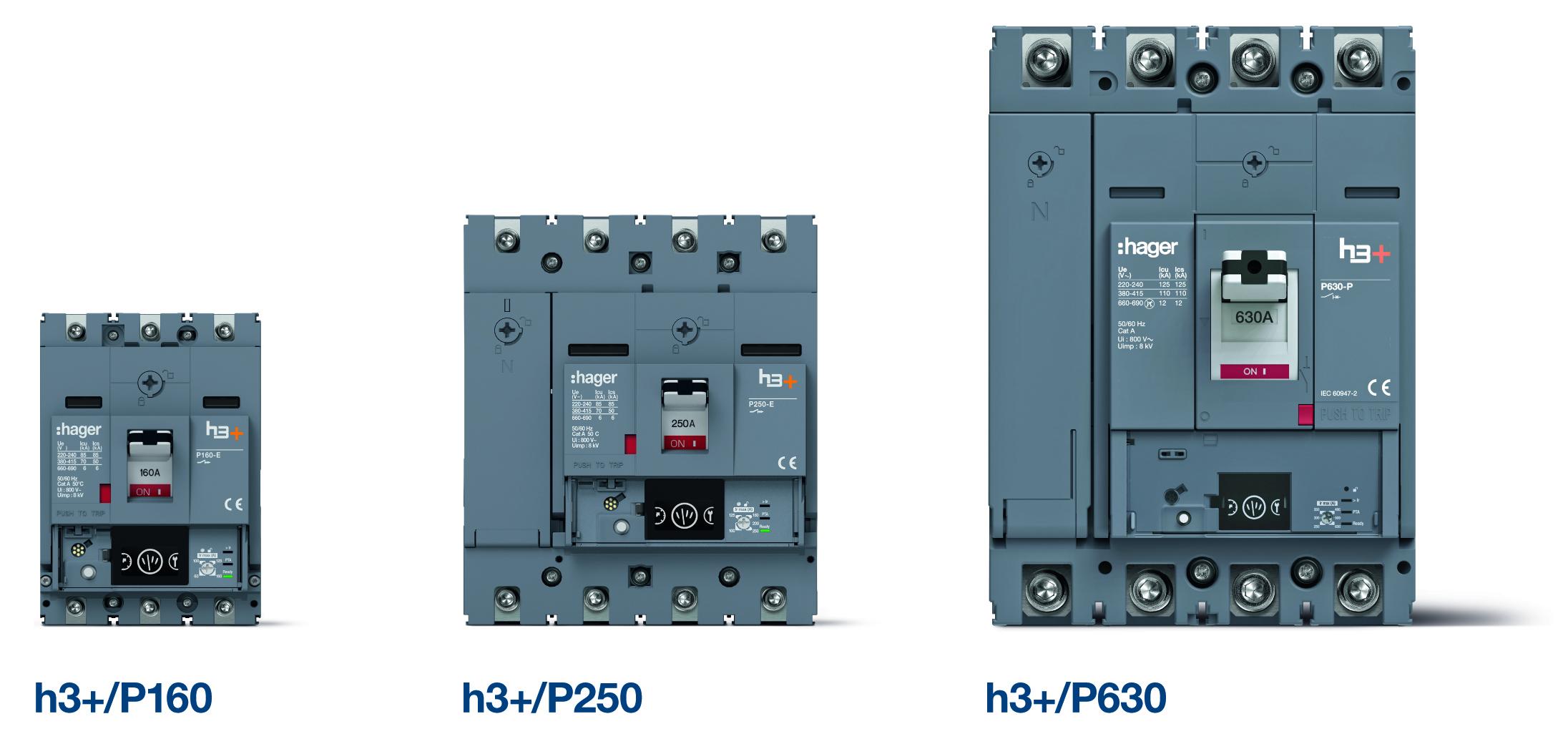 Hager Kompaktleistungsschalter H3+ in allen drei Baugrößen (Bild: Hager Vertriebsgesellschaft mbH & Co. KG)