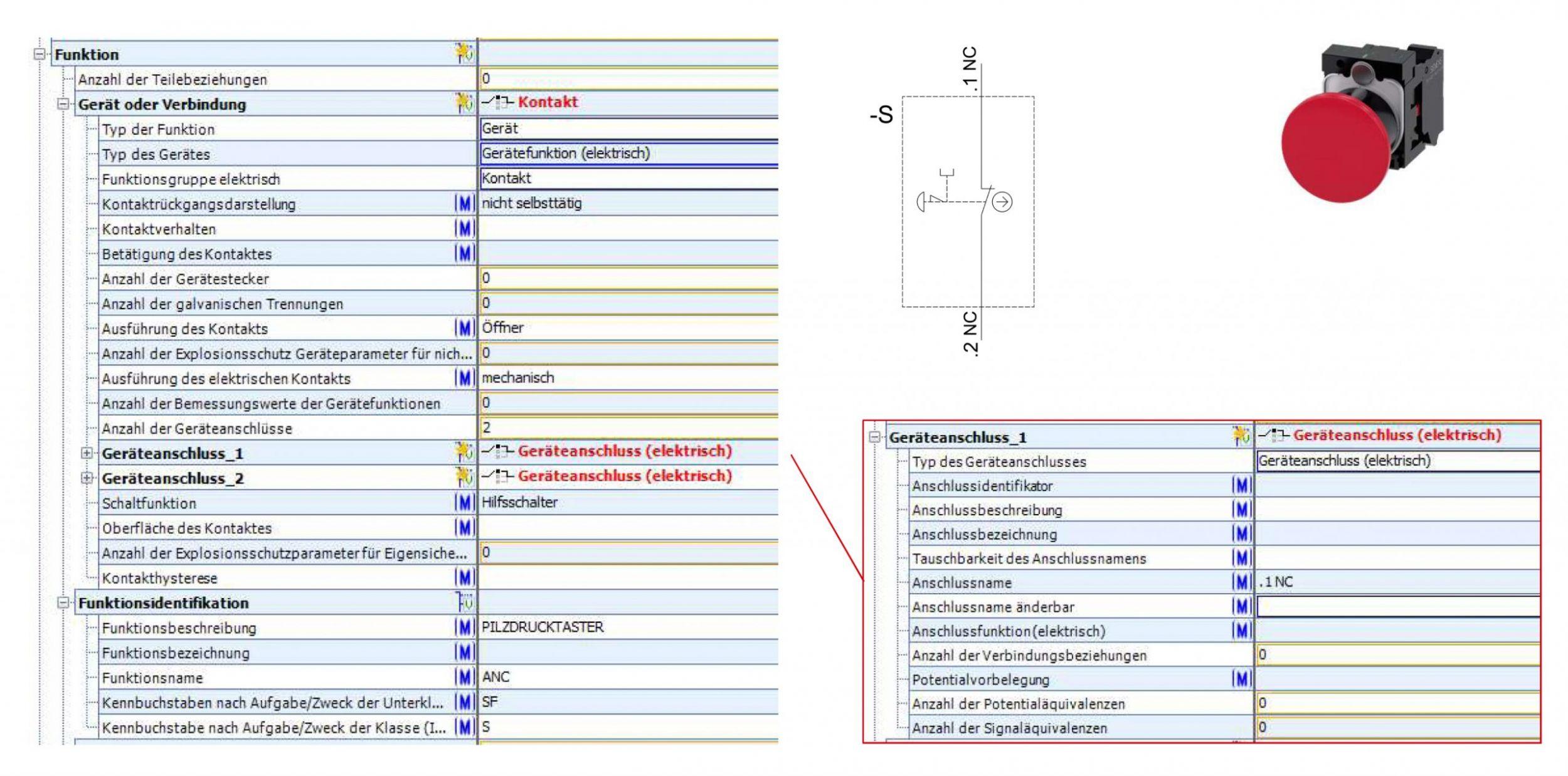 Bild 1   Das Bild zeigt die Abbildung der Funktionsbeschreibung in eCl@ss 11.0 sowie das dazugehörige Schaltsymbol für Pilzdruckschalter. (Bild: AmpereSoft GmbH)