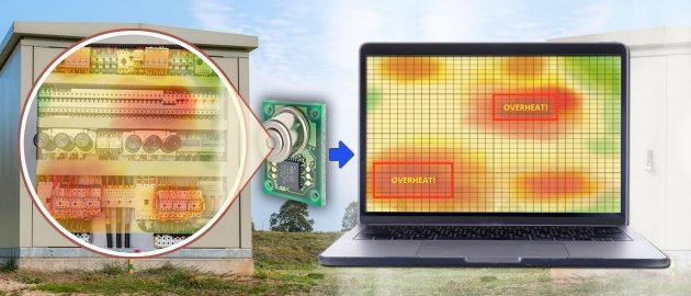 Ein Weitwinkel-Infrarotsensor wie der Omron D6T 32x32 kann breite Flächen wie z.B. ein Panel nach Hotspots überwachen. (Bild: Omron Electronic Components Europe B.V.)