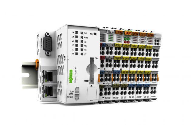 Der WAGO Fernwirkcontroller der 2. Generation ist eine speicherprogrammierbare Steuerung (SPS) mit diversen Schnittstellen. Ganz nach Bedarf lassen sich daran 3- oder 4-Leiter-Messkarten sowie Digitaleingangs- und -ausgangsmodule für die Steuerung einer M